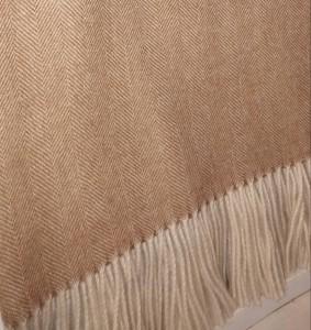 Alpaca blanket -- camel herringbone