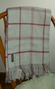 gray plaid alpaca blanket