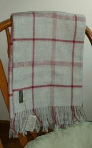 gray plaid alpaca blanket