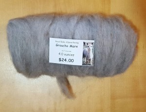 Alpaca Roving from Groucho Marx, 16.7 microns.  Soft as a cloud.